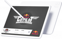An iPad displaying a screenshot of the RedBull CoPilot app, with an Apple Pencil